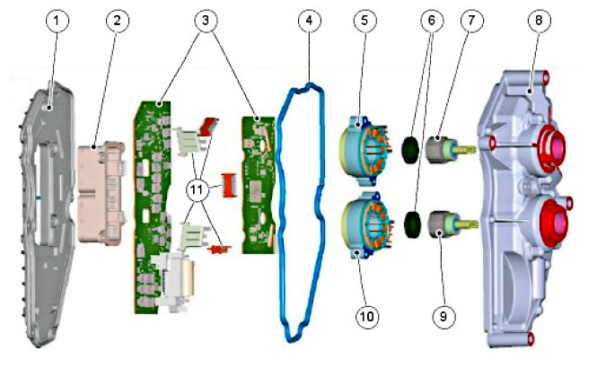 Схема электронного блока управления тсм 6DCT250 Ford Focus